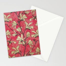 Kitschy Vintage Magnolia Pattern in Pink and White Stationery Cards