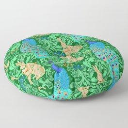 Art Nouveau Peacock Print, Cobalt Blue and Emerald Green Floor Pillow