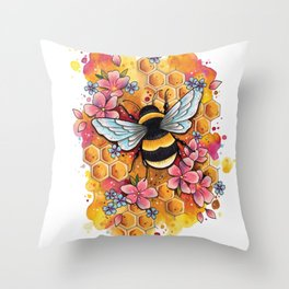 Neo Traditional Bee Throw Pillow