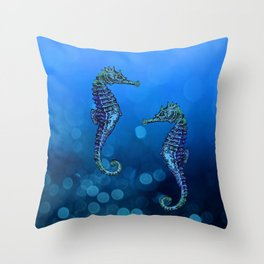 Sea Horse Couple In Deep Blue Water Throw Pillow