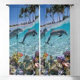 Coral Reef and Dolphins Blackout Curtain