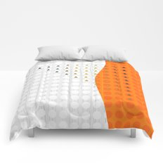 Orange and White Wavy Geometric Dot and Triangle Comforters