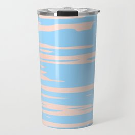 Carefree - Sweet Peach Coral Pink on Blue Raspberry Travel Mug