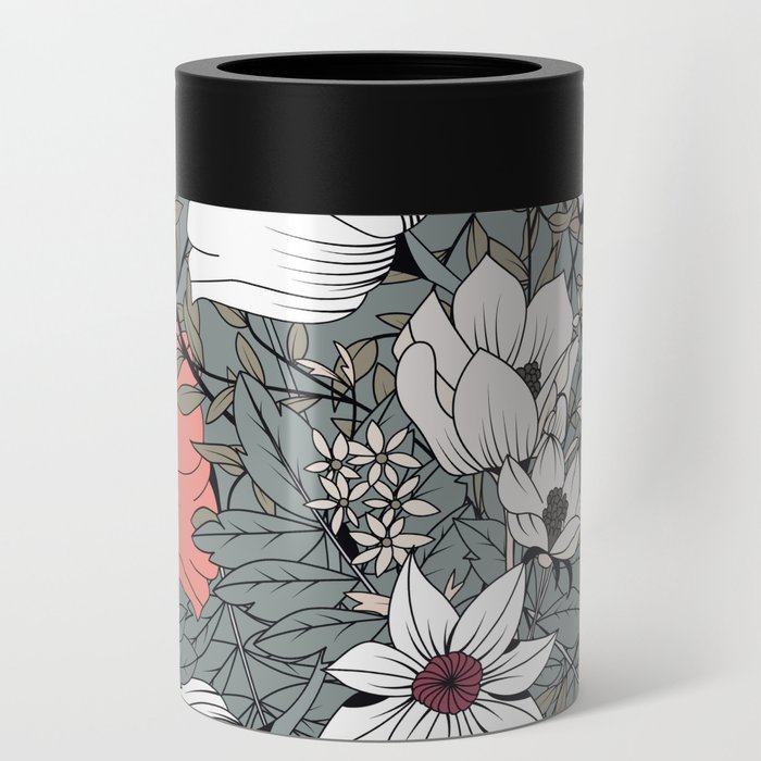 Seamless pattern design with hand drawn flowers and floral elements Can Cooler