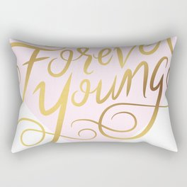 Forever Young Faux Gold Foil Art Print Rectangular Pillow