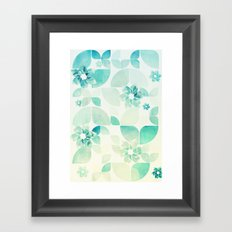 Flowers and Snowflakes Pattern Framed Art Print