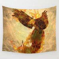 phoenix Wall Tapestries featuring Phoenix by Barruf
