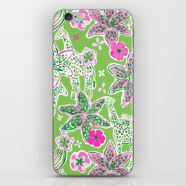 Fun Preppy Whimsical Giraffe Floral Print / Pattern iPhone Skin