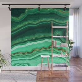 Gold And Malachite Marble Wall Mural