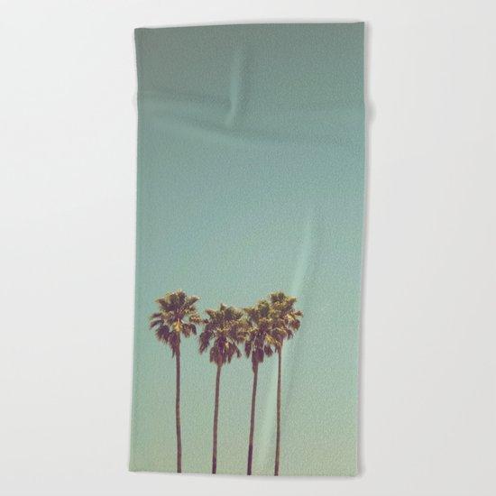 Vintage Palm Trees Beach Towel