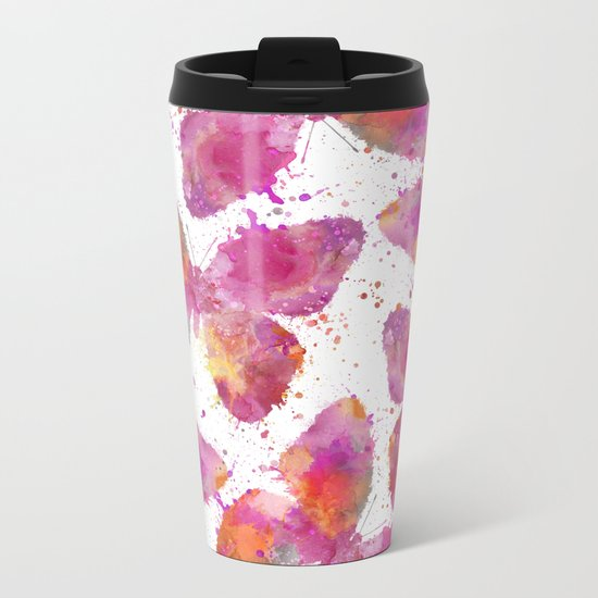 Artsy Butterfly colorful watercolor art Metal Travel Mug