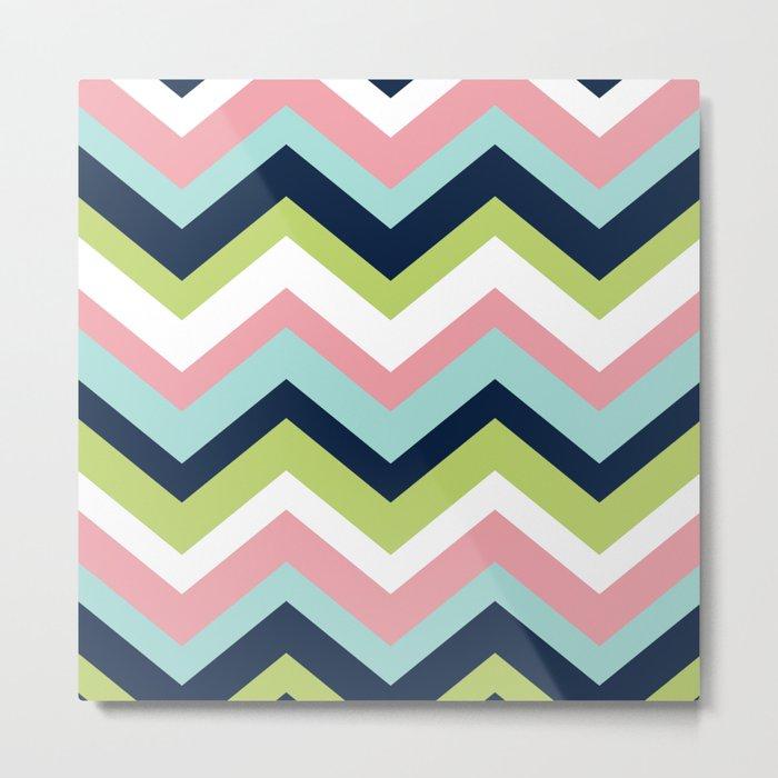 Chevron Pattern Navy Pink Aqua Lime Metal Print