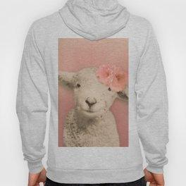 Flower Sheep Girl Portrait, Dusty Flamingo Pink Background Hoody