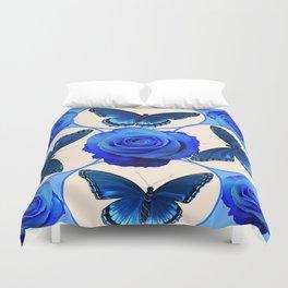 BLUE ROSES & BLUE BUTTERFLIES MODERN ART Duvet Cover