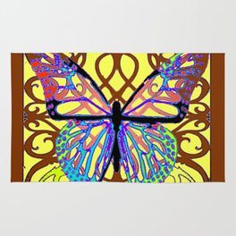 ITALIAN STYLE BROWN-YELLOW BUTTERFLY FILIGREE Rug