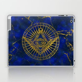 All Seeing Mystic Eye in Masonic Compass on Lapis Lazuli Laptop & iPad Skin