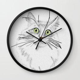 Green Eyed Greedy Cat Wall Clock
