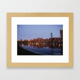 Boston Skyline at Sunset Framed Art Print