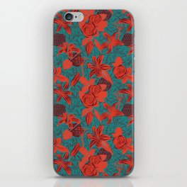 Linocut look in blue with roses iPhone Skin