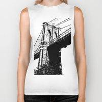 brooklyn bridge Biker Tanks featuring Brooklyn Bridge by Massimiliano Bertozzi