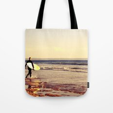 Father and son surfing colour Tote Bag