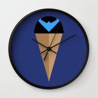 nightwing Wall Clocks featuring Neapolitan Nightwing by Adam Grey