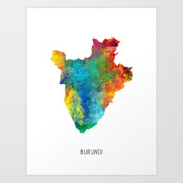 Burundi Watercolor Map Art Print