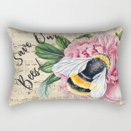 Save Our Bees Pink Peony Rectangular Pillow
