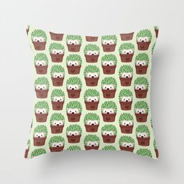 Hedgehogs disguised as cactuses Throw Pillow