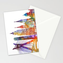 Sao Paulo landmarks watercolor poster Stationery Cards