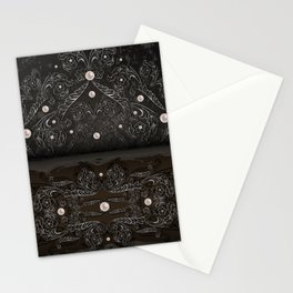 Silver ornament, pearls and grunge texture background Stationery Cards