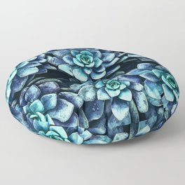Blue And Green Succulent Plants Floor Pillow