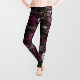 Dark and light pink peonies Leggings