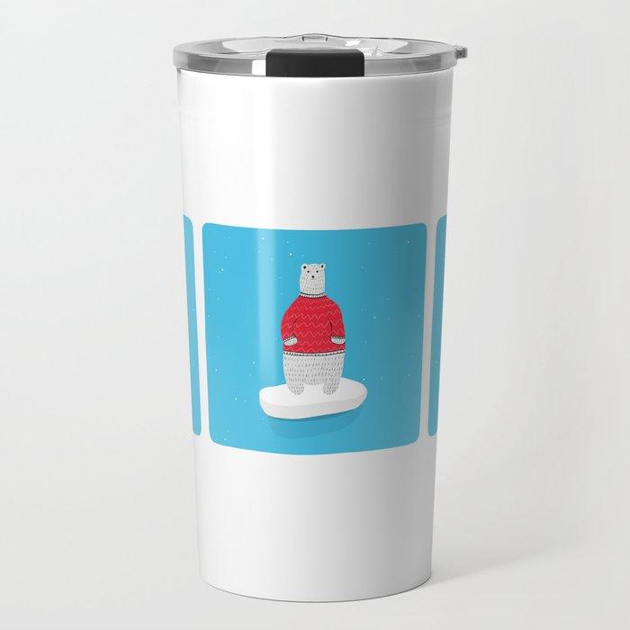 Standing Polar Bear in Sweater Travel Mug