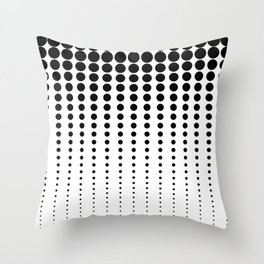 Reduced black Dots on Solid White Black Background Illustration Digital Artwork Throw Pillow