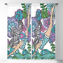 Diving Girl (Purple Palette) Blackout Curtain