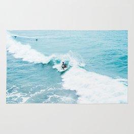 Wave Surfer Turquoise Rug