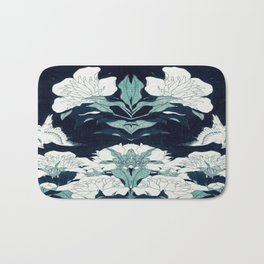 JAPANESE FLOWERS Midnight Blue Teal Bath Mat