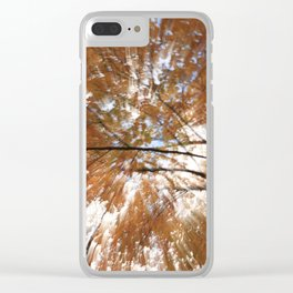 Forest upside down, fall leaves, sky, shadows Clear iPhone Case