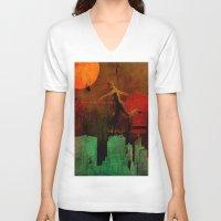 takmaj V-neck T-shirts featuring Jump on the green city by Ganech joe