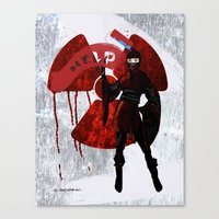 ninja Canvas Prints featuring Ninja by Elisabeth Acerbi