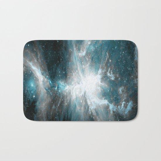 Orion Nebula Teal Gray Galaxy Bath Mat