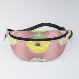 Colorful Donuts Print Pink Background Fanny Pack