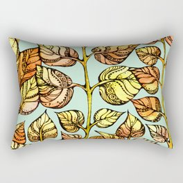 Hand drawn watercolor  golden leaves Rectangular Pillow