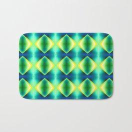 Green Yellow Geometric Metallic Diamond Pattern Bath Mat