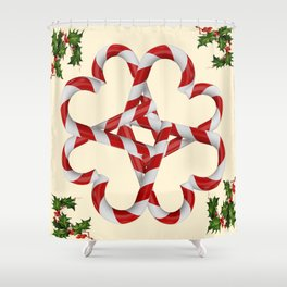 CREAMY YELLOW  RED-WHITE PINK  CHRISTMAS CANDY CANES Shower Curtain