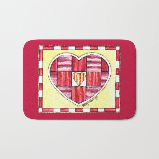 Pinstripe Heart Bath Mat
