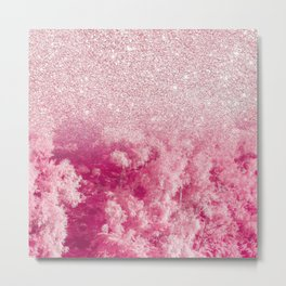 Abstract bright pink floral glitter gradient Metal Print