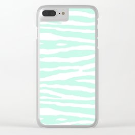 Mint Green & White Animal Print Clear iPhone Case