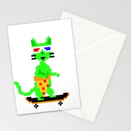 """Psychedelic Skateboarding Pixel Pizza Cat"", by Brock Springstead Stationery Cards"